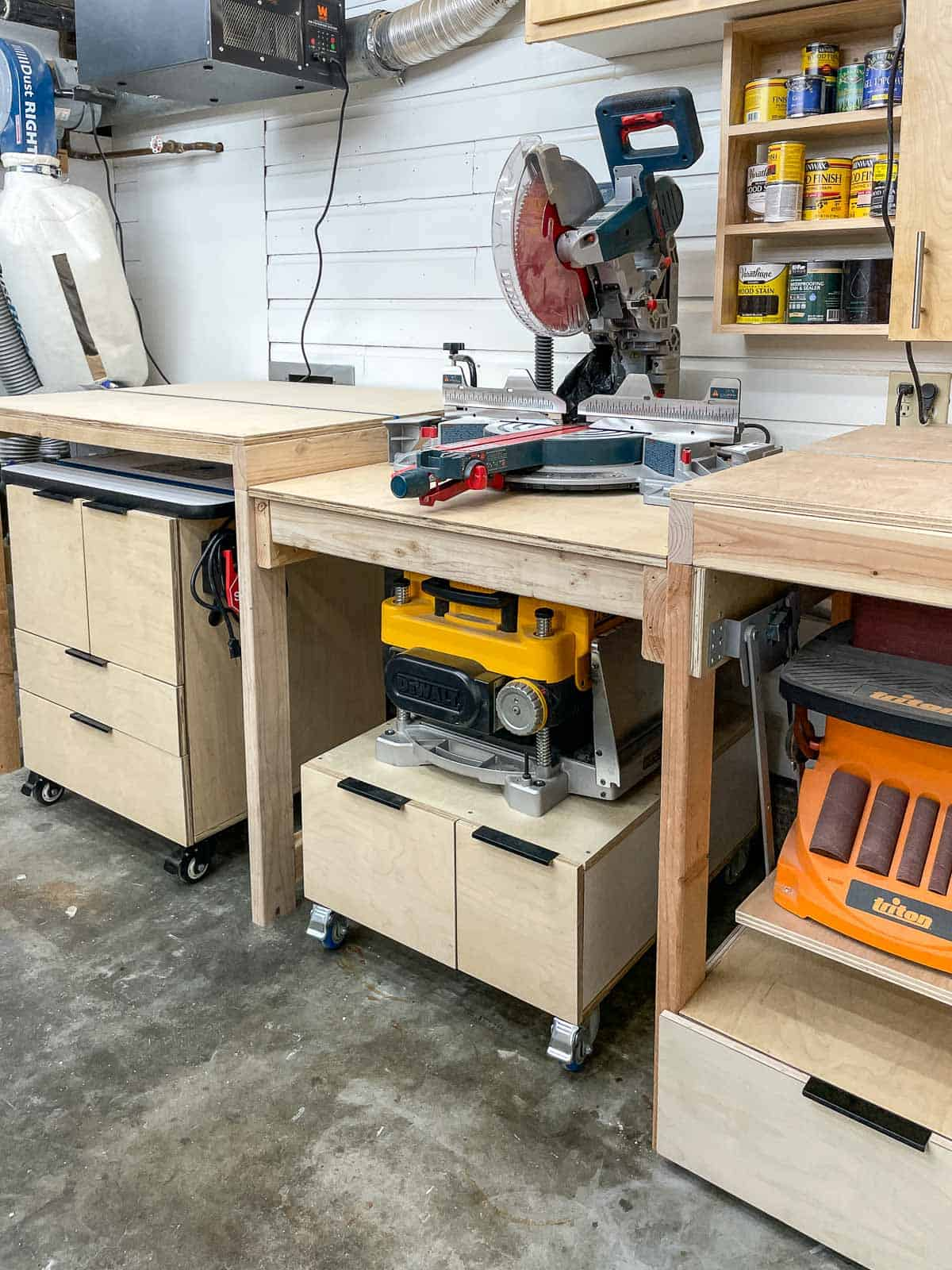 miter saw station with router table, planer stand and benchtop sander