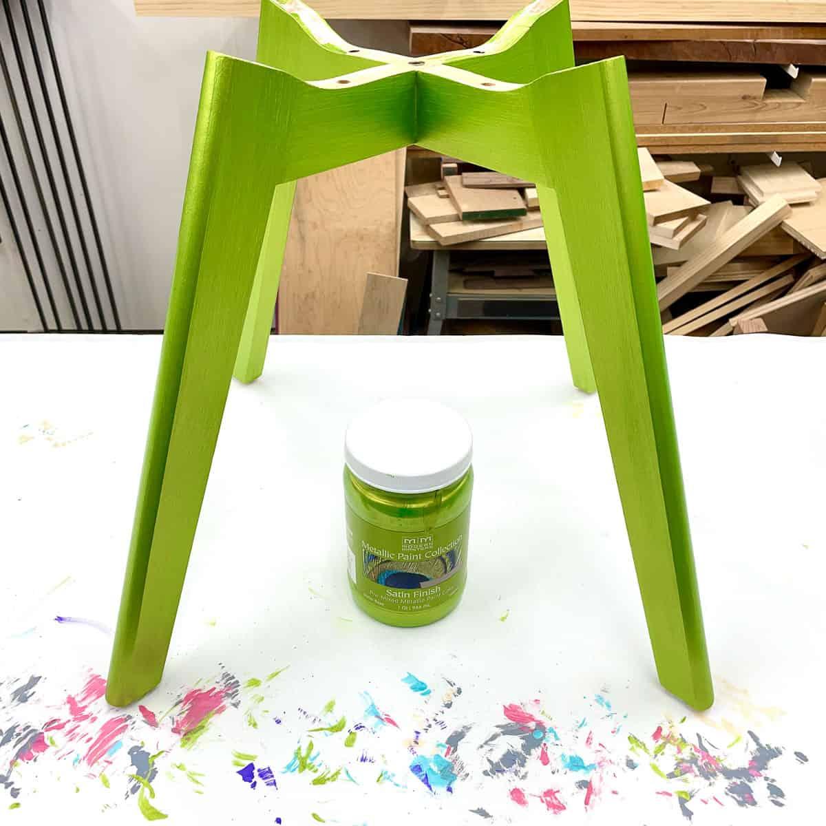 green metallic furniture paint on chair legs