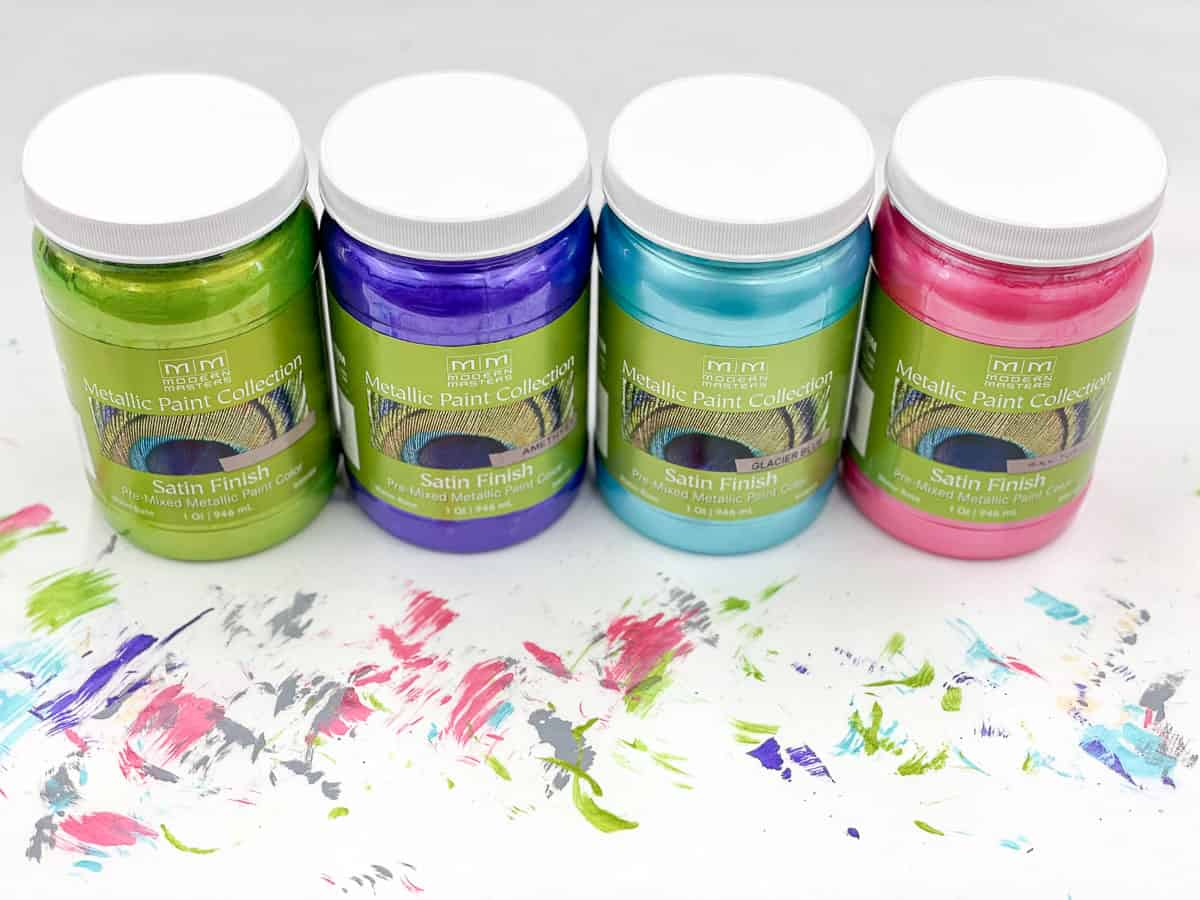 colorful metallic furniture paint in green, purple, blue and pink