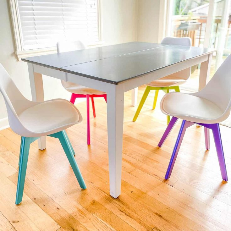 colorful metallic furniture paint on dining chair legs