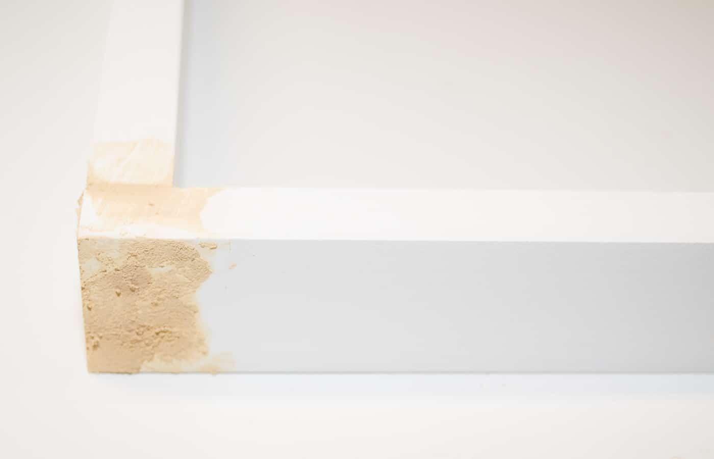 wood filler covering up screws in end of poster frame corners