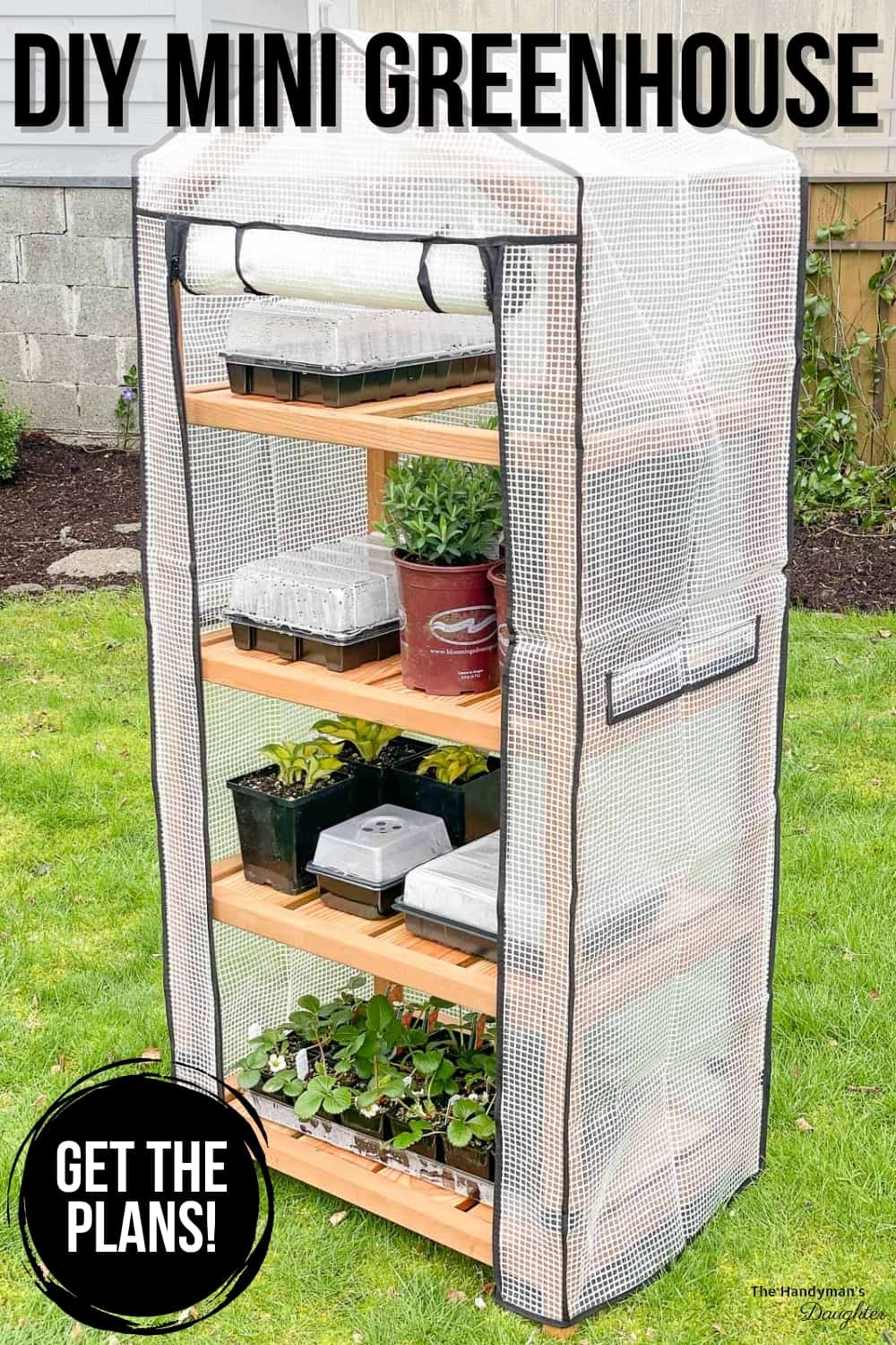 tall skinny wood greenhouse with cover and plants