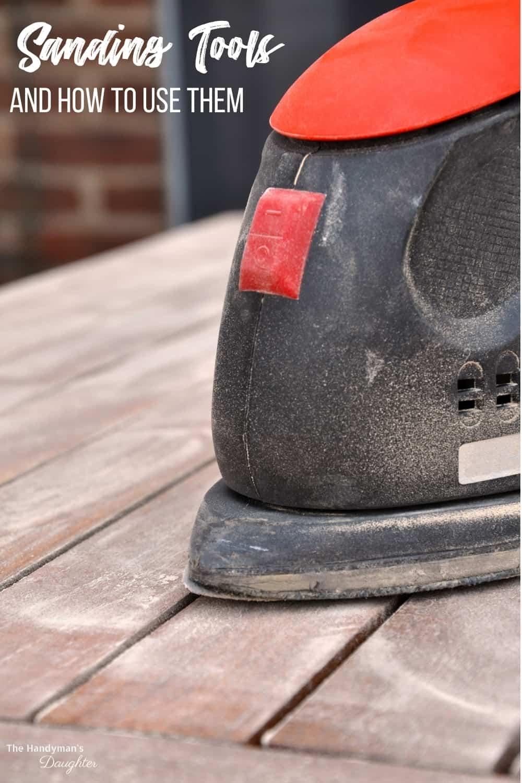 sanding tools with close up of corner cat sander