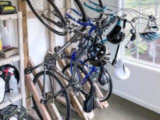 DIY bike rack on wall