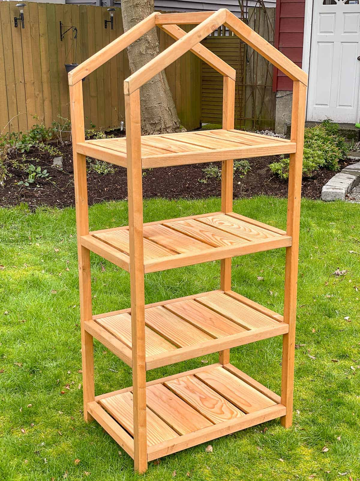 DIY mini greenhouse without cover in backyard
