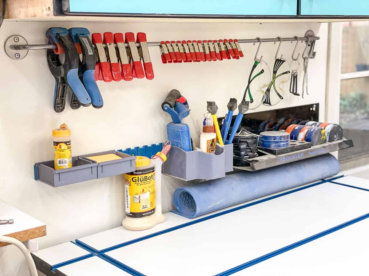 DIY spring clamp rack made from a metal kitchen rail