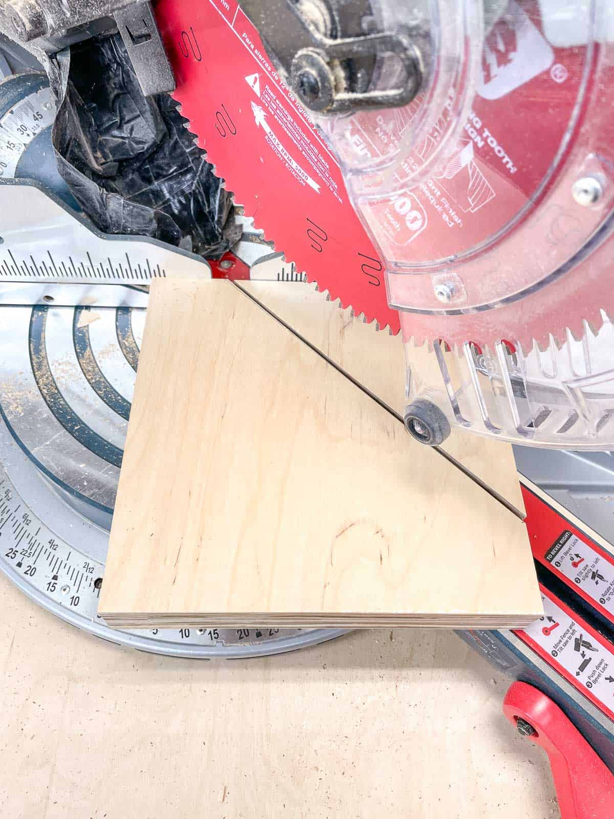 bracket for parallel clamp rack cut on miter saw at 45 degree angle