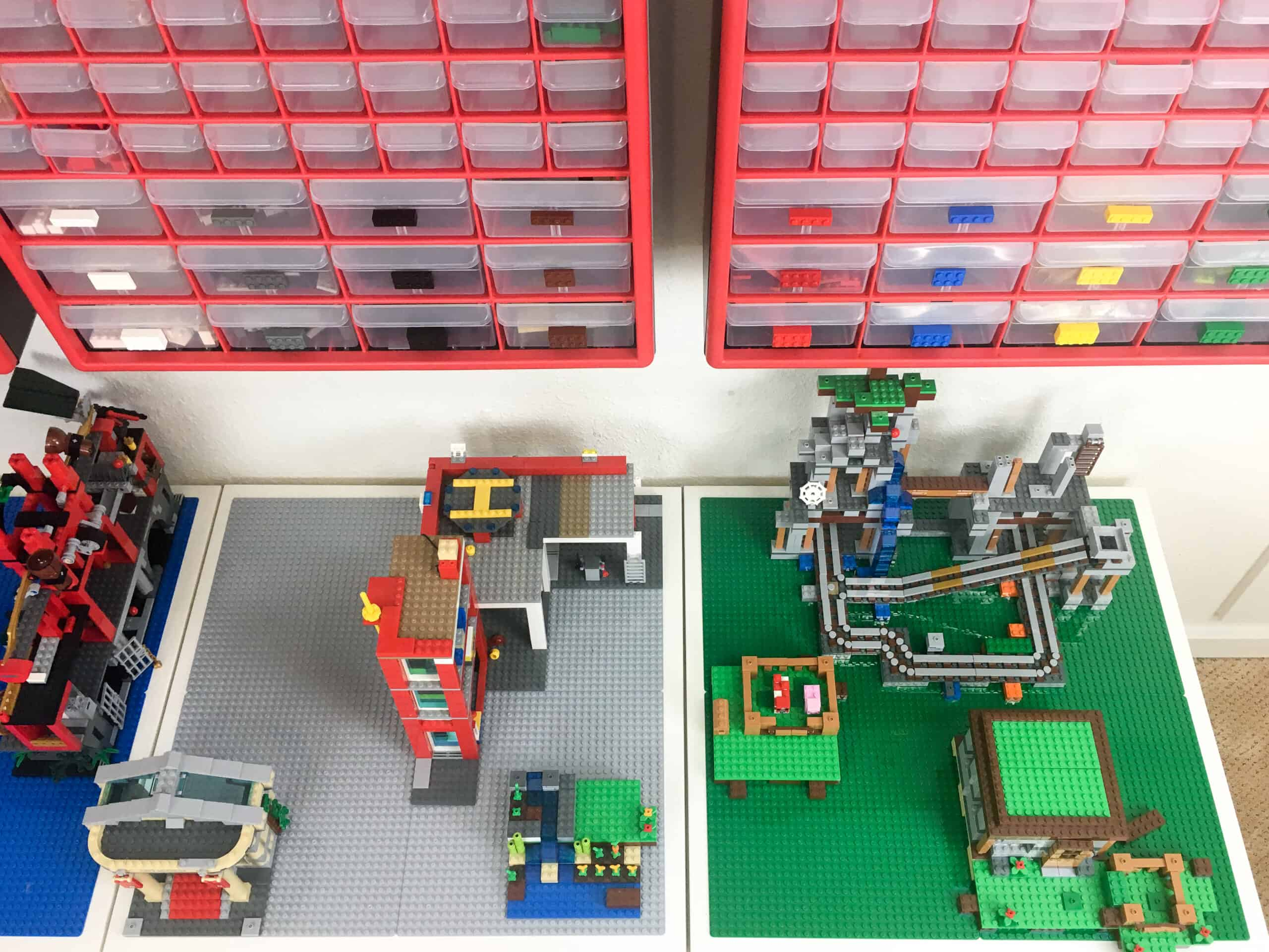 Lego city and Minecraft sets built on DIY Lego table