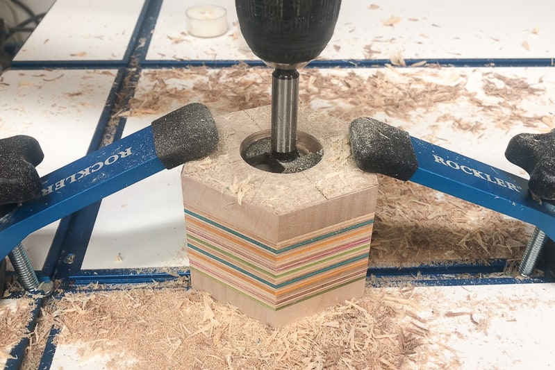 drilling a hole with a Forstner bit
