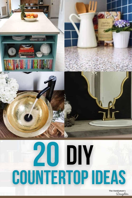 collage of DIY countertop ideas
