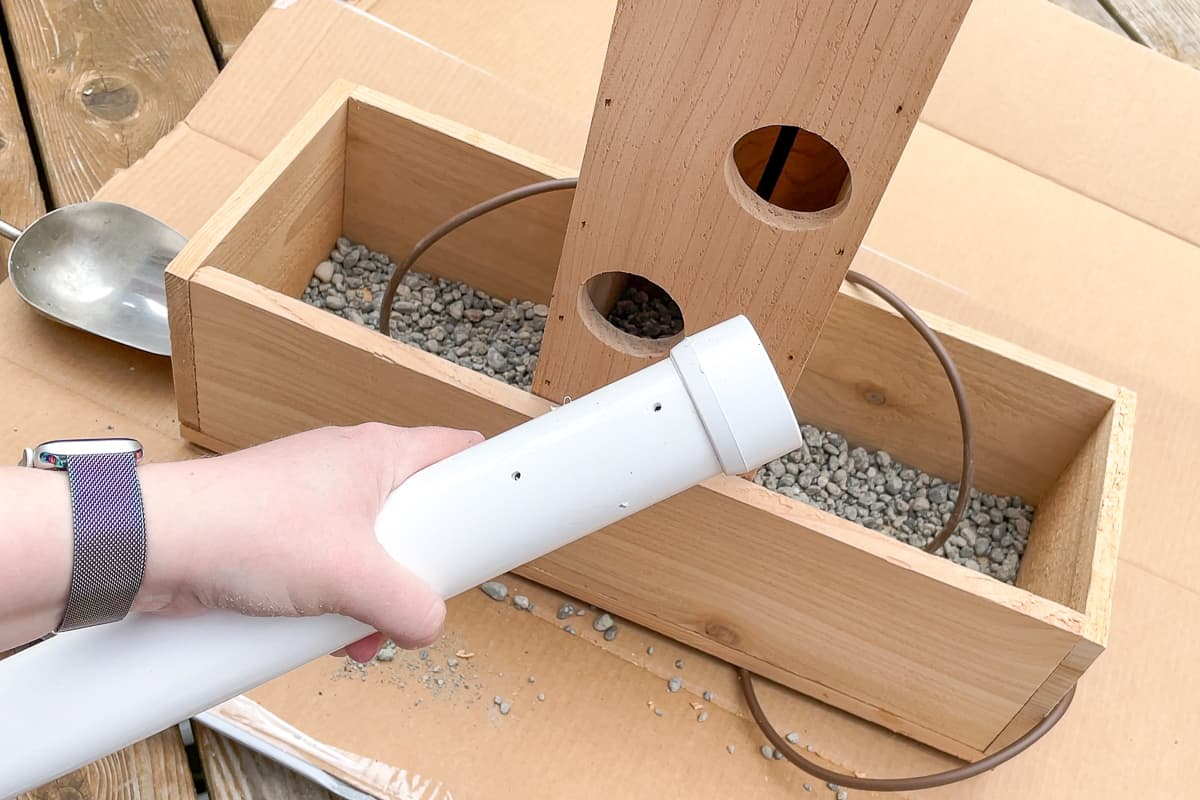 water reservoir for strawberry tower using PVC pipe