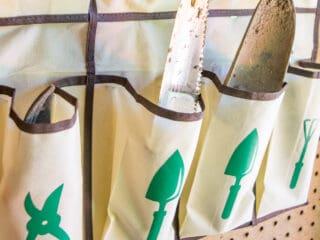 DIY hanging garden tool organizer