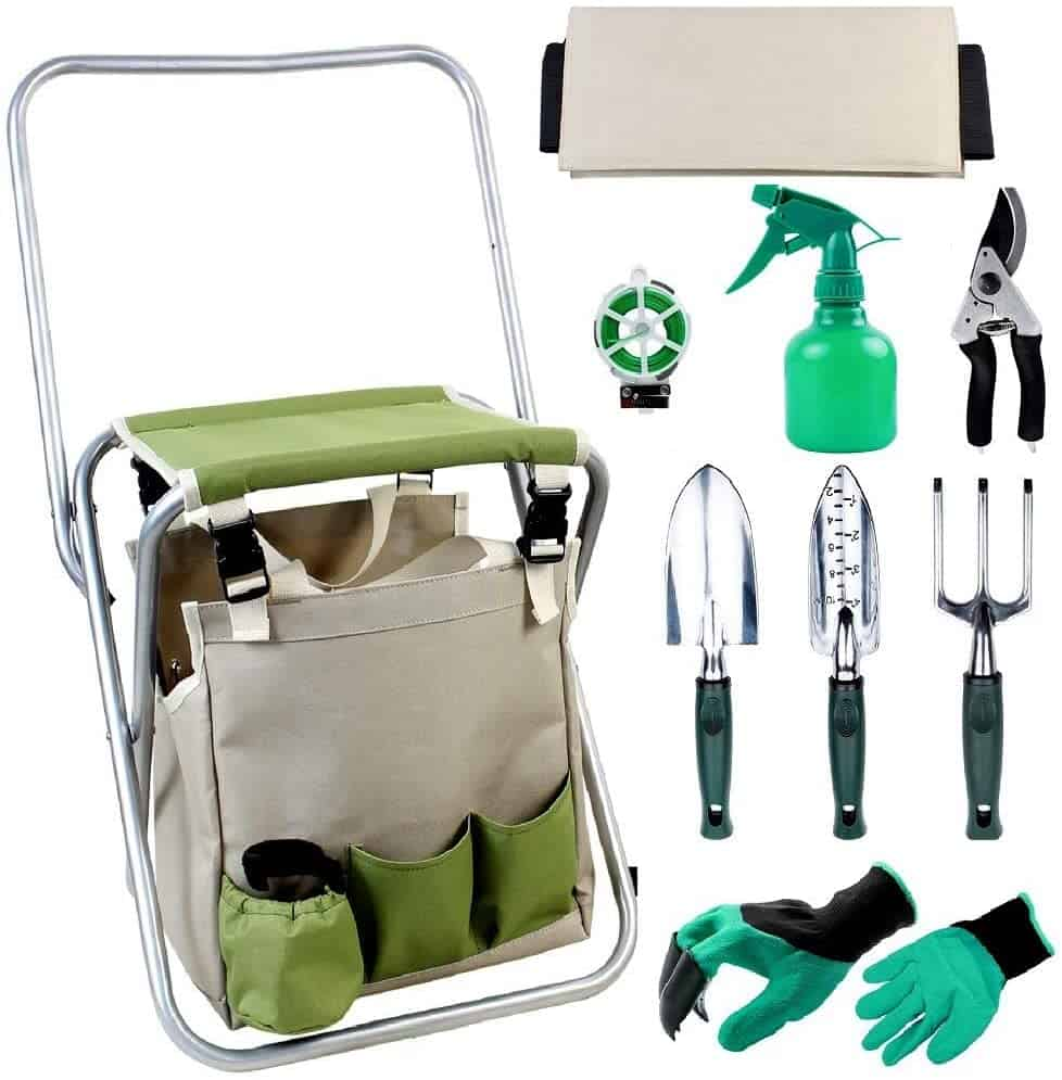 gardening stool with attached garden tool storage bag