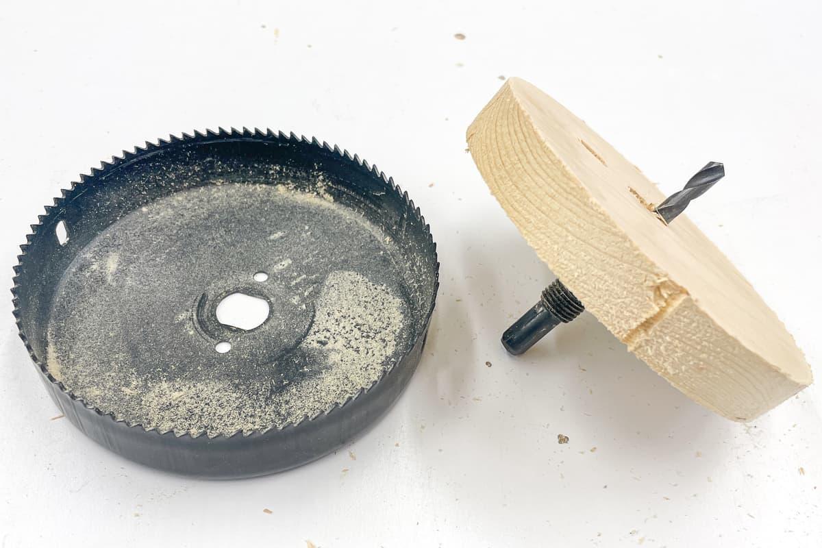 wood plug stuck in hole saw