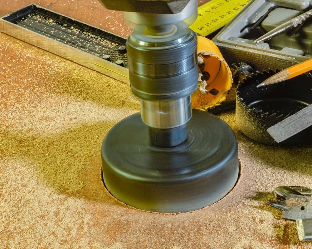 drilling a hole with a hole saw