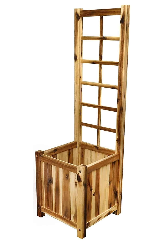 planter box with tall trellis