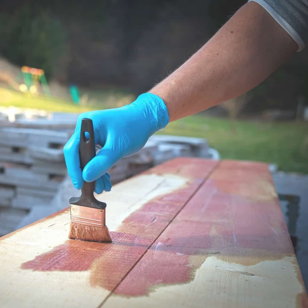 staining wood outdoors