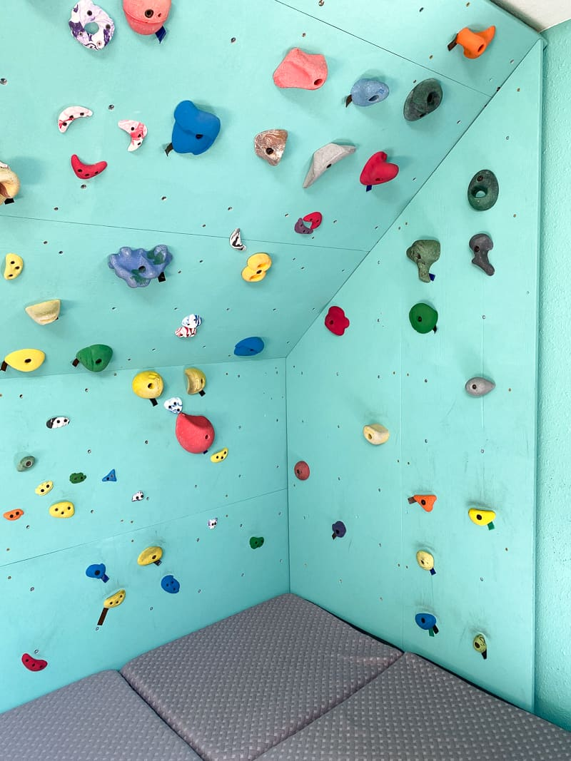 DIY climbing wall corner with holds