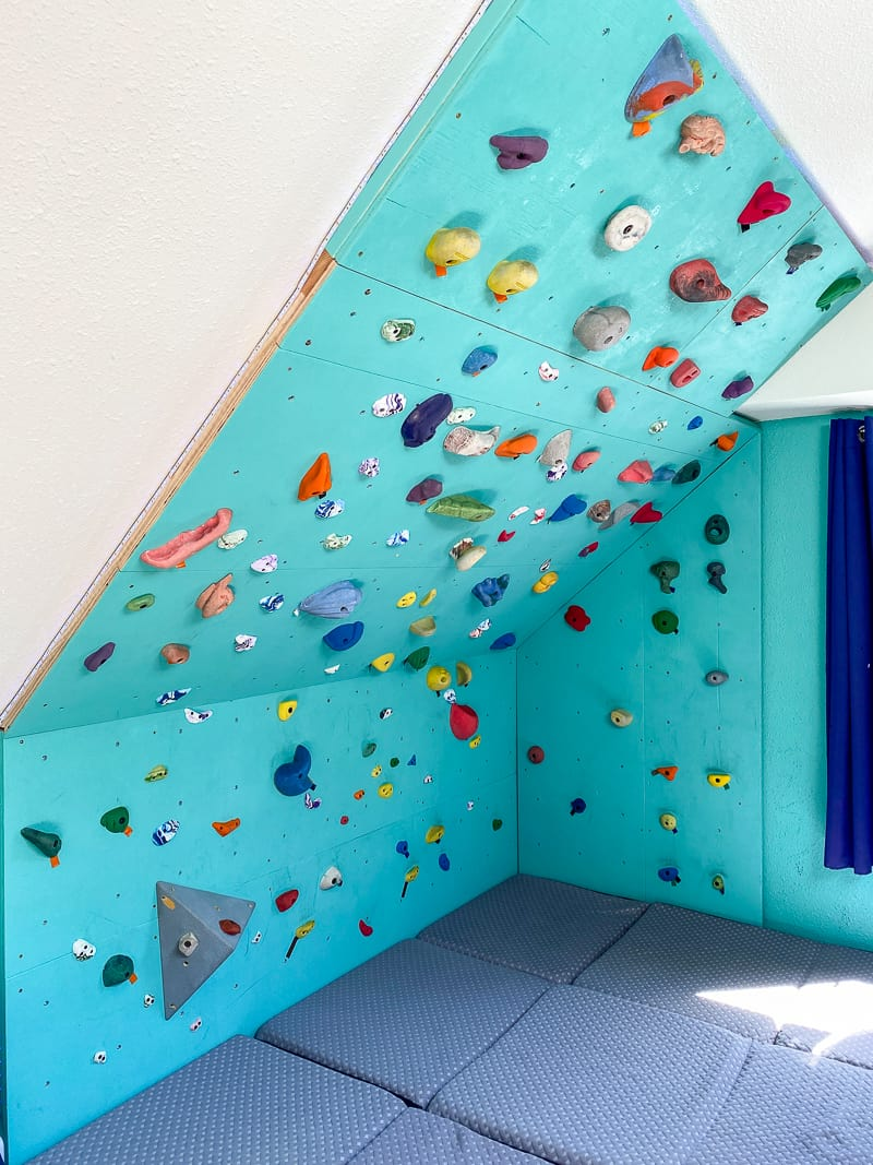home climbing wall from floor to ceiling