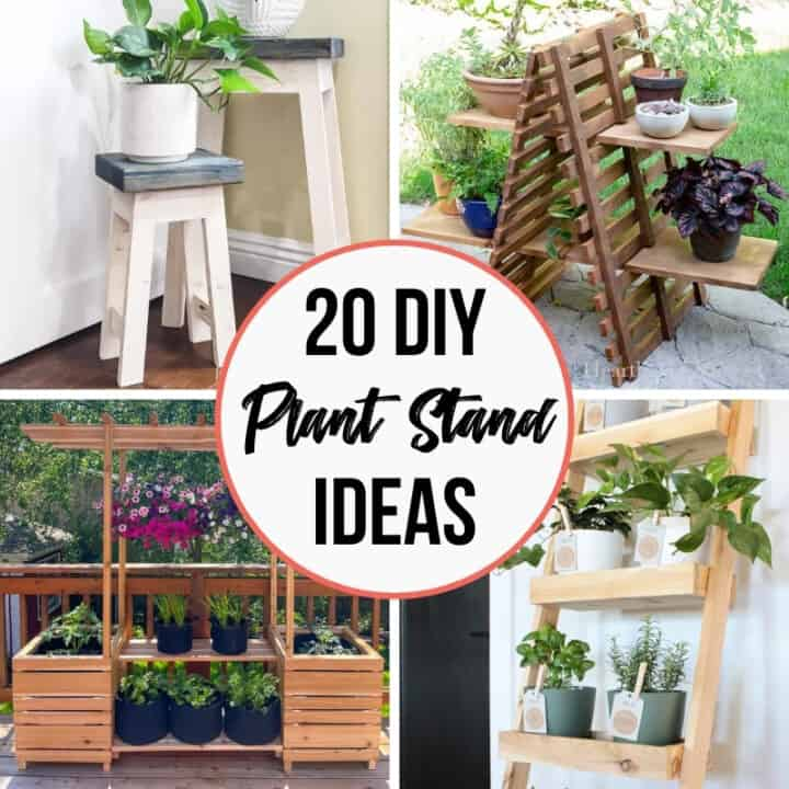 20 DIY Plant Stand Ideas with four different styles shown