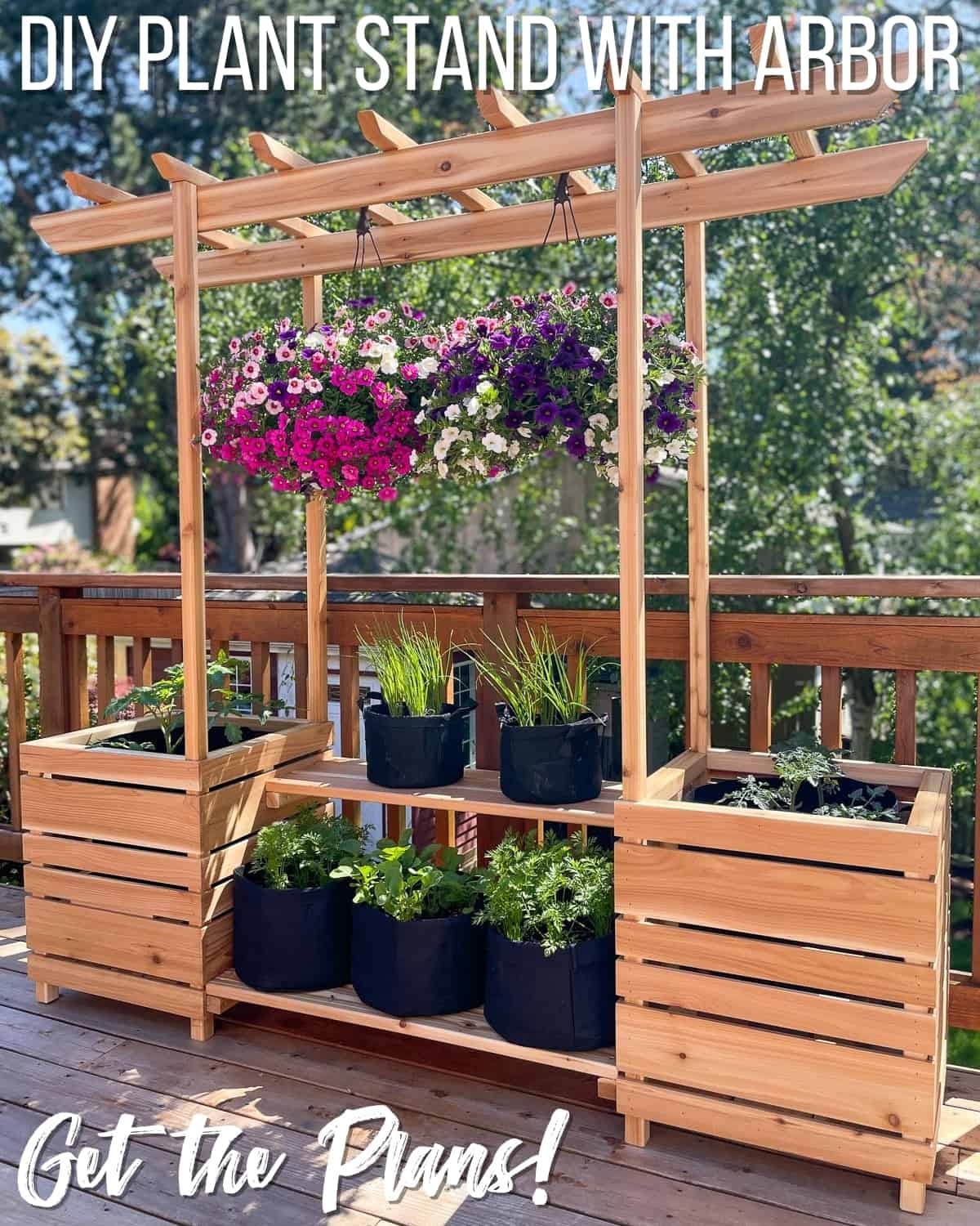 DIY outdoor plant stand with arbor