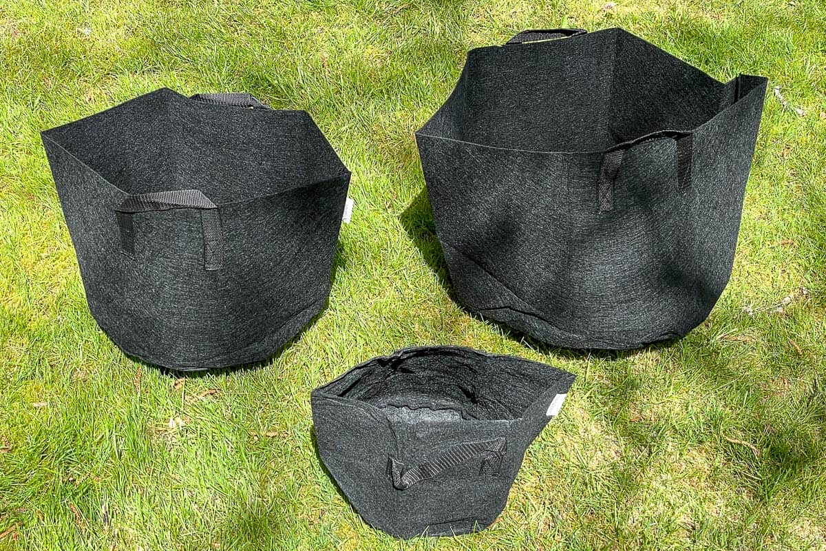 different sizes of grow bags