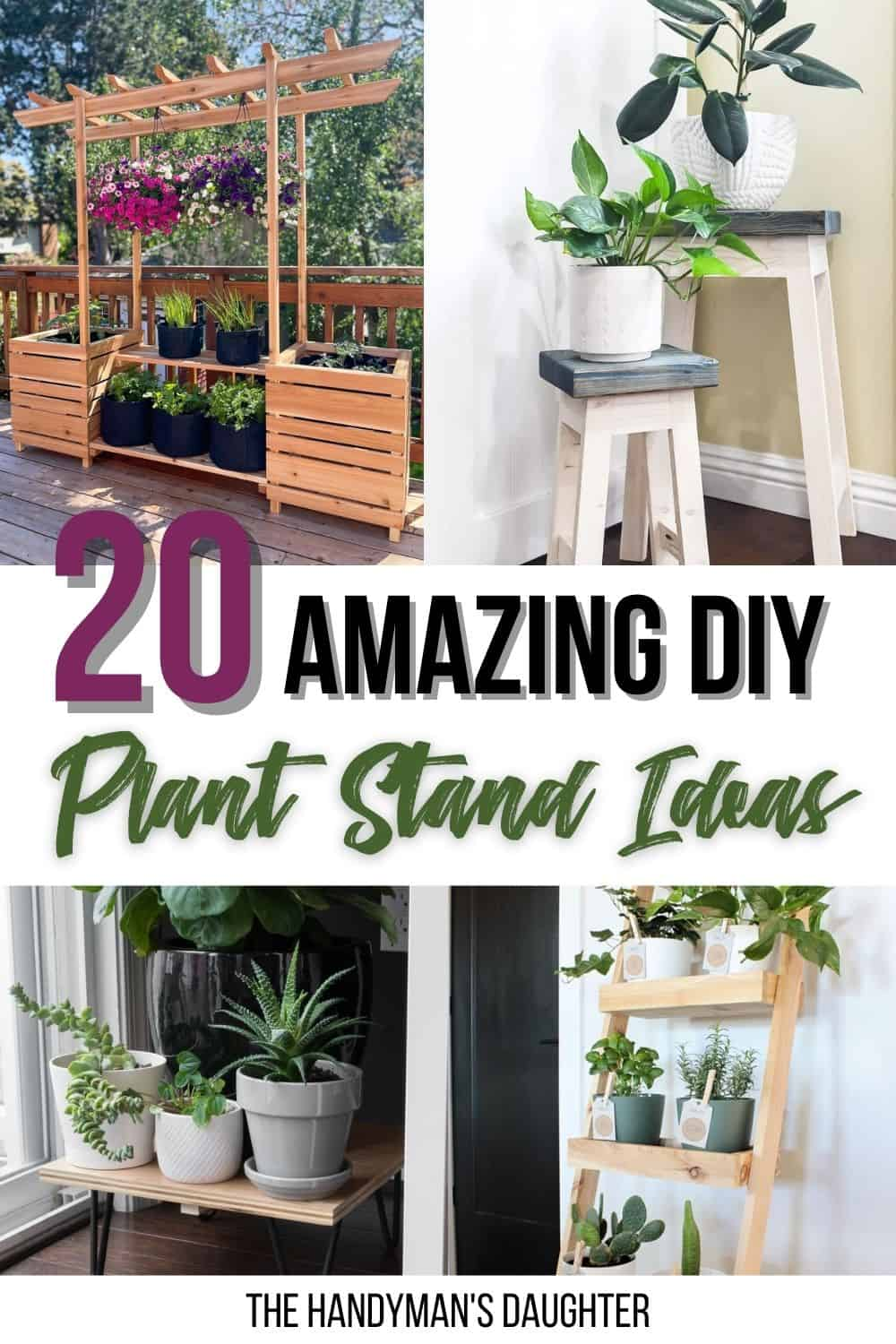collage of DIY plant stand ideas