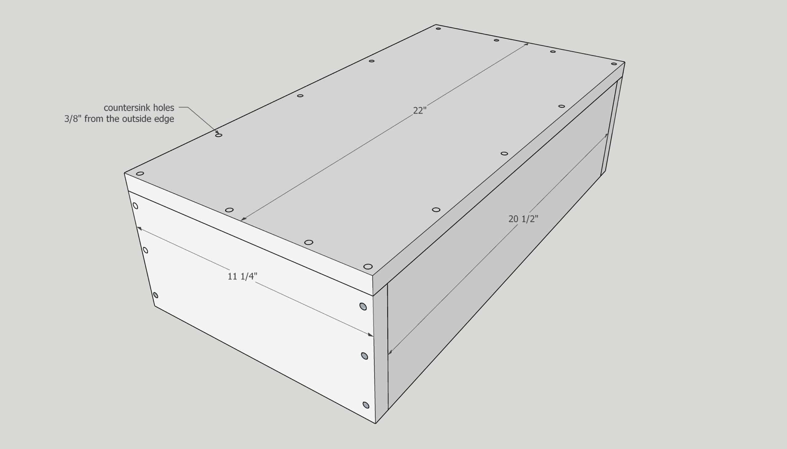 countersink holes along edges of trash can cabinet drawer box