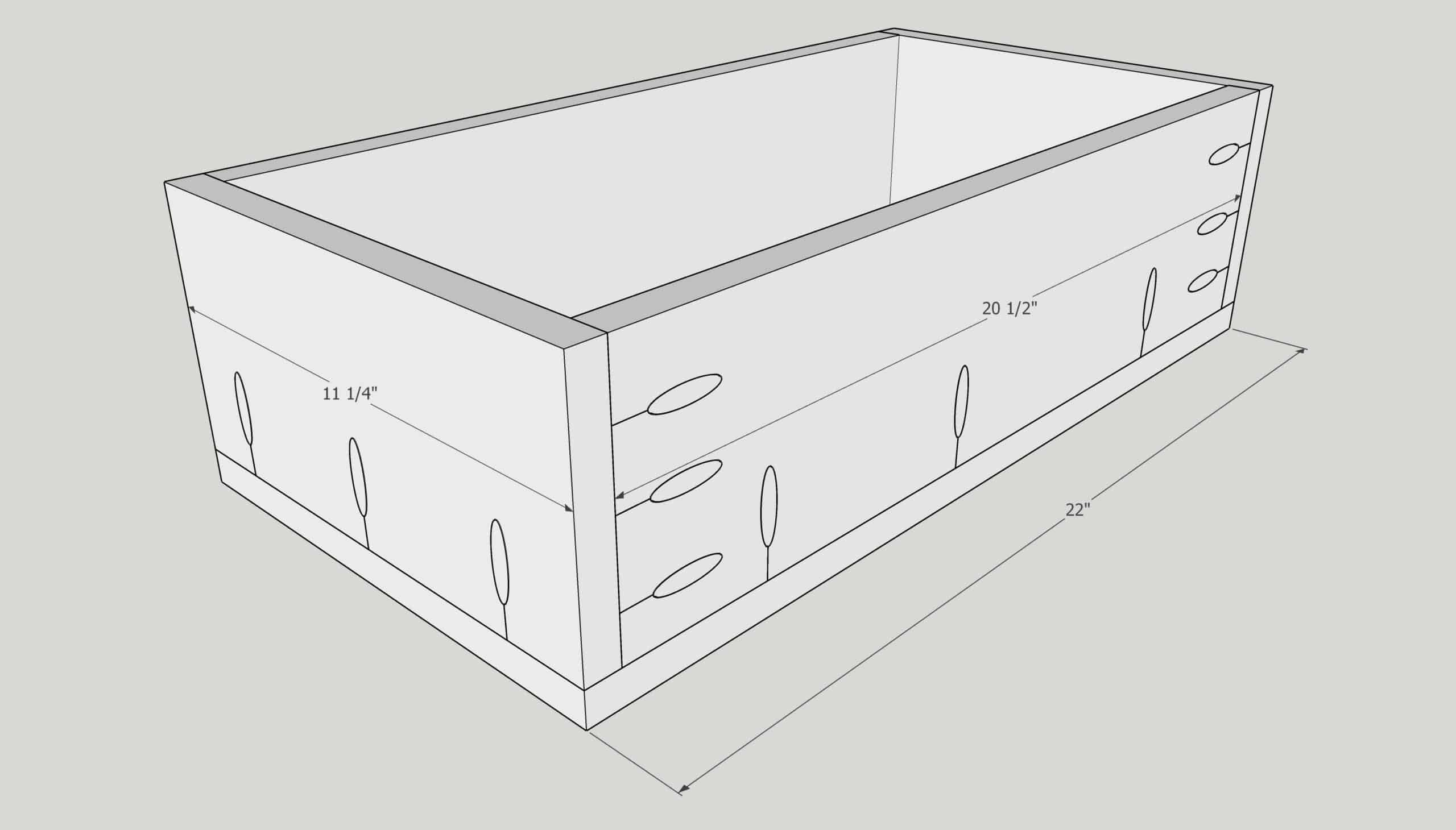 pocket holes in sides of drawer box for pull out trash can cabinet