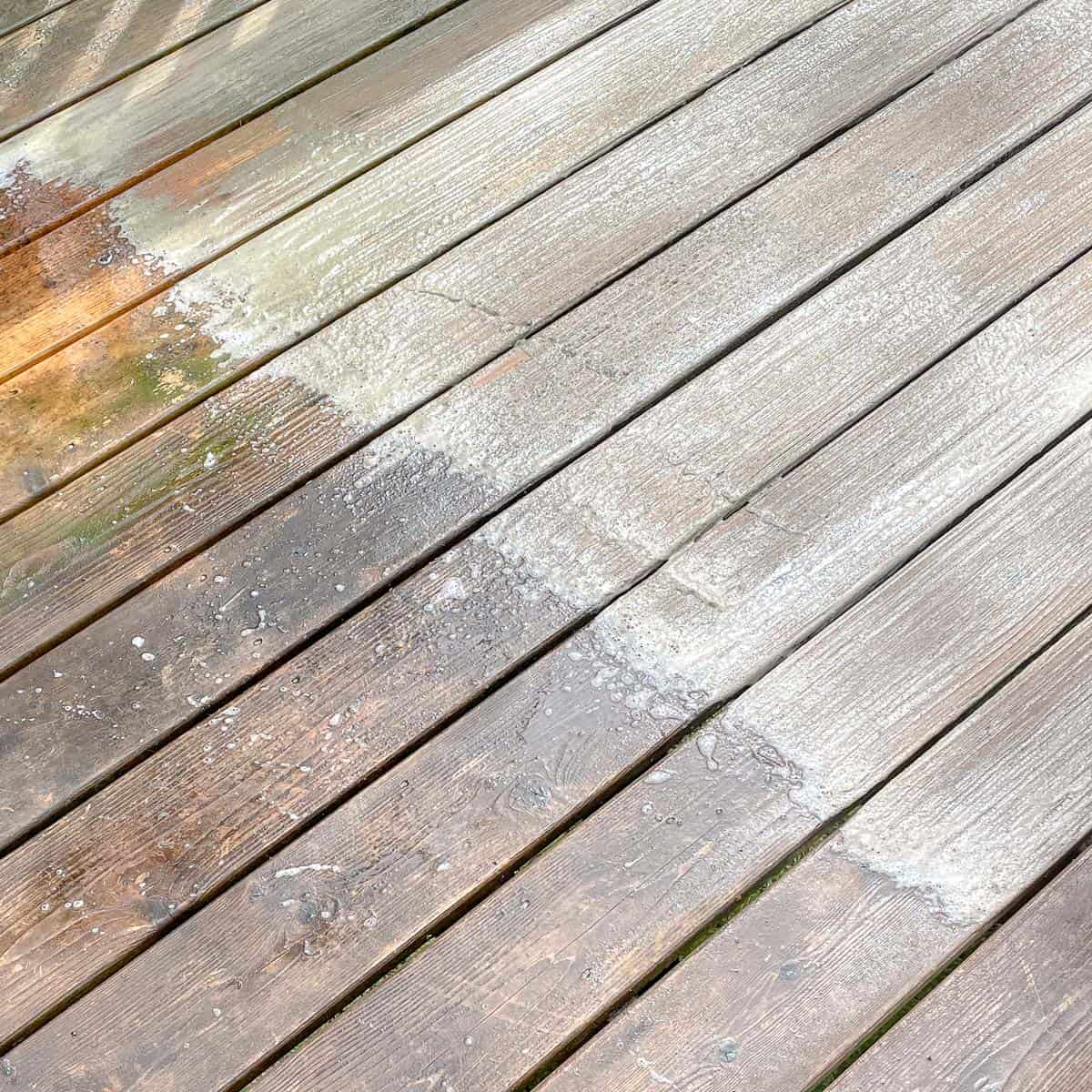 deck cleaner applied to one section of deck