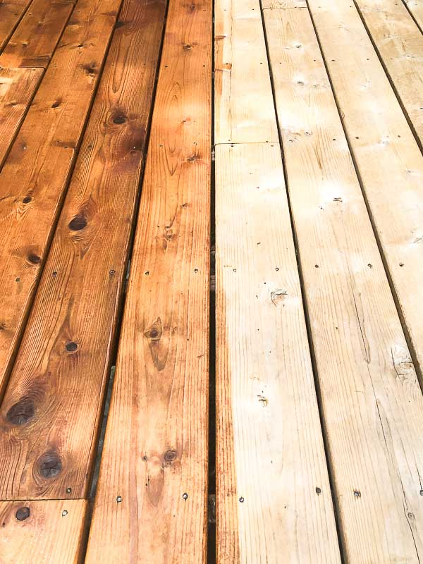 deck stain applied to half of the floor