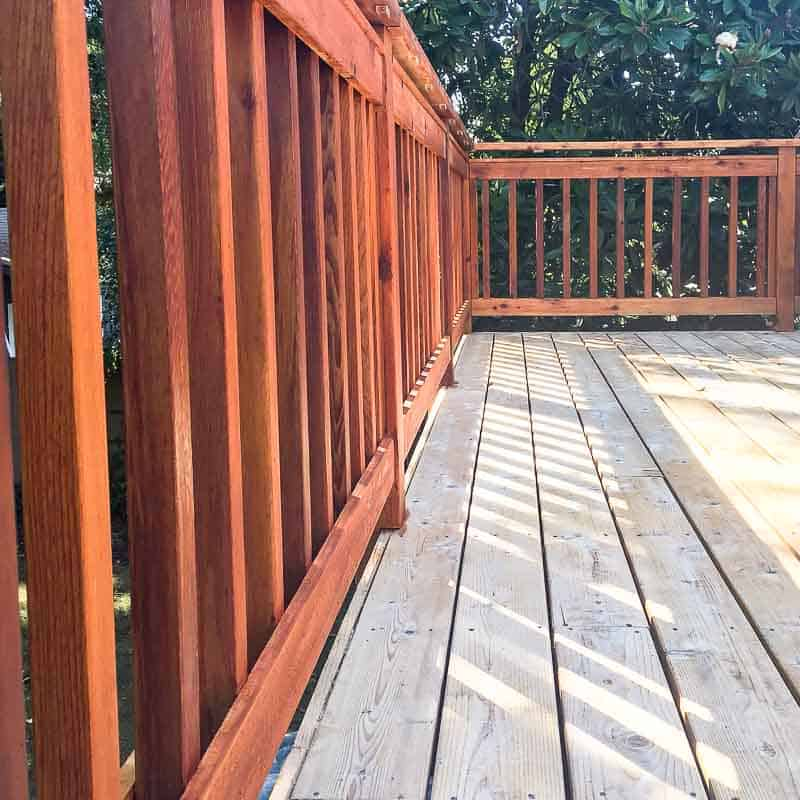 stained deck railings