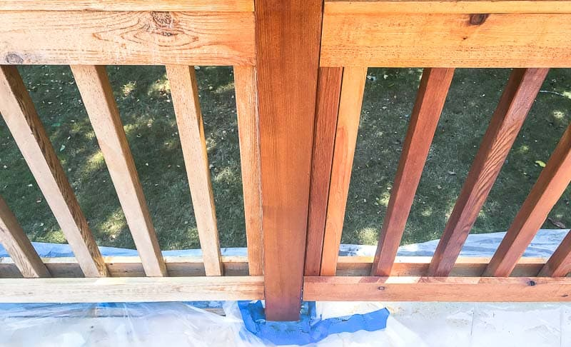 half of deck railing stained and half unstained