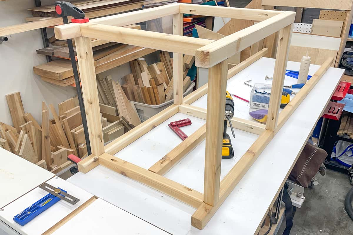 assembled plant stand frame on workbench