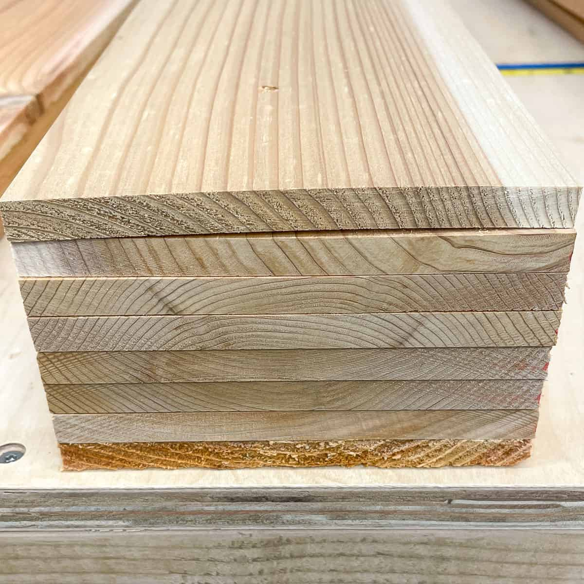 cedar fence pickets in a stack