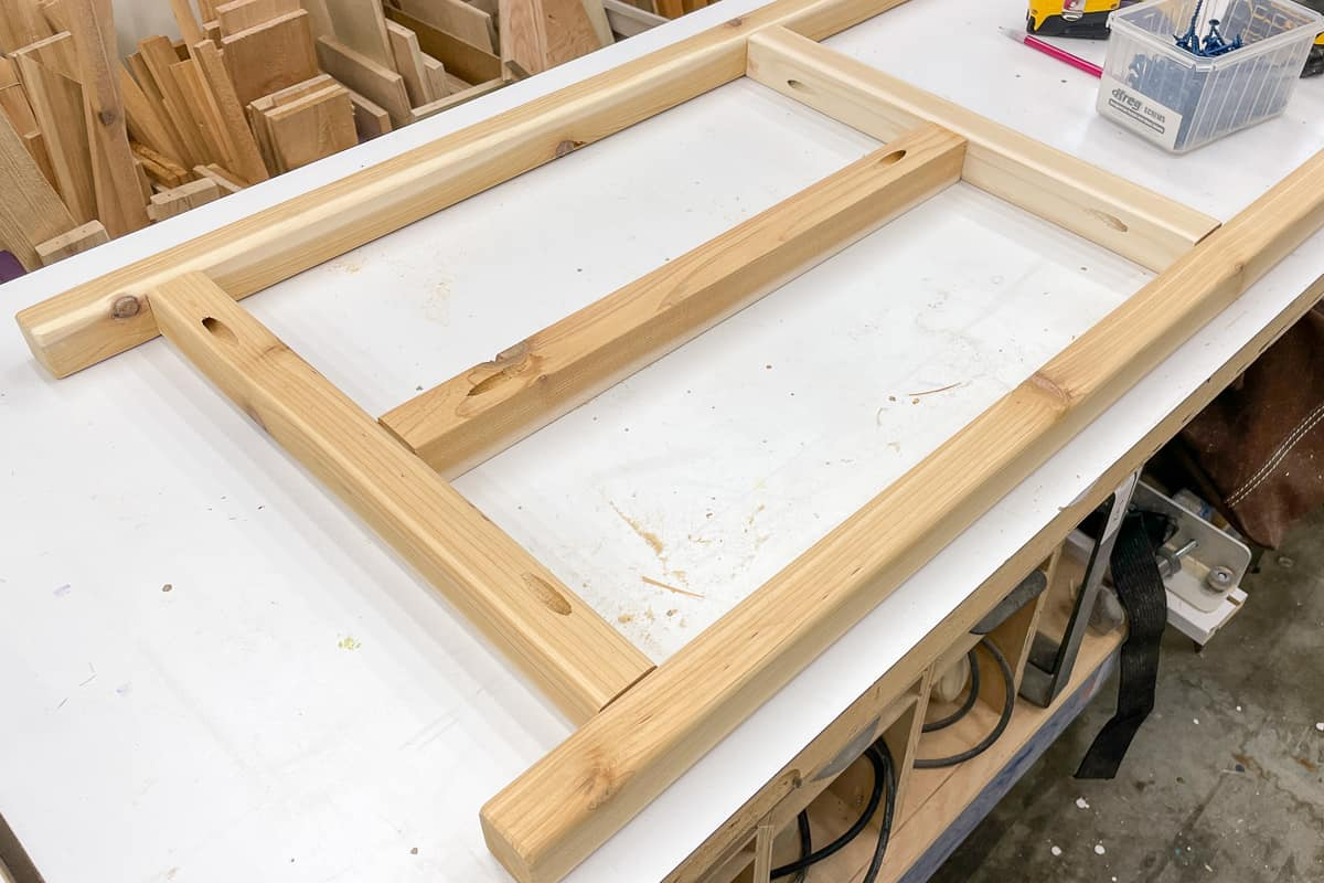 legs for outdoor plants stand assembled on workbench