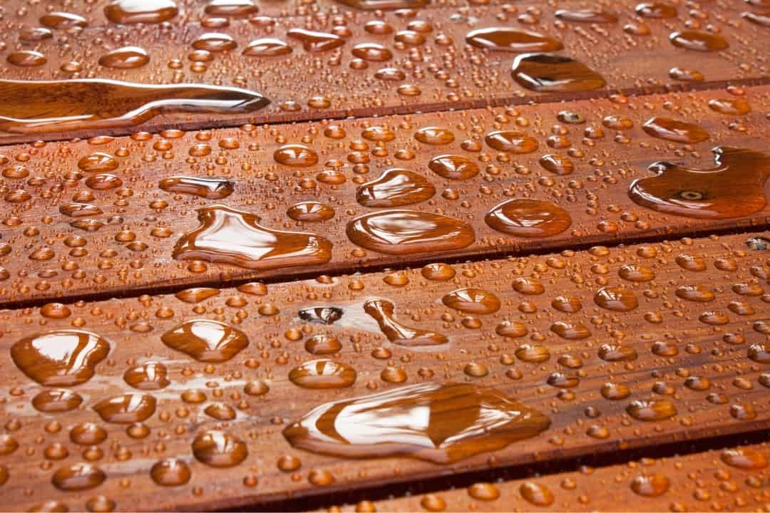 rain on stained deck