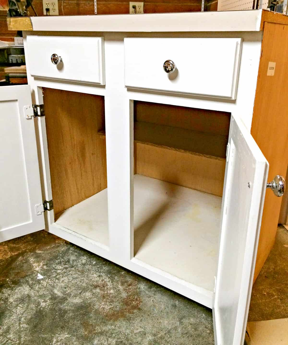 used kitchen cabinet with doors open