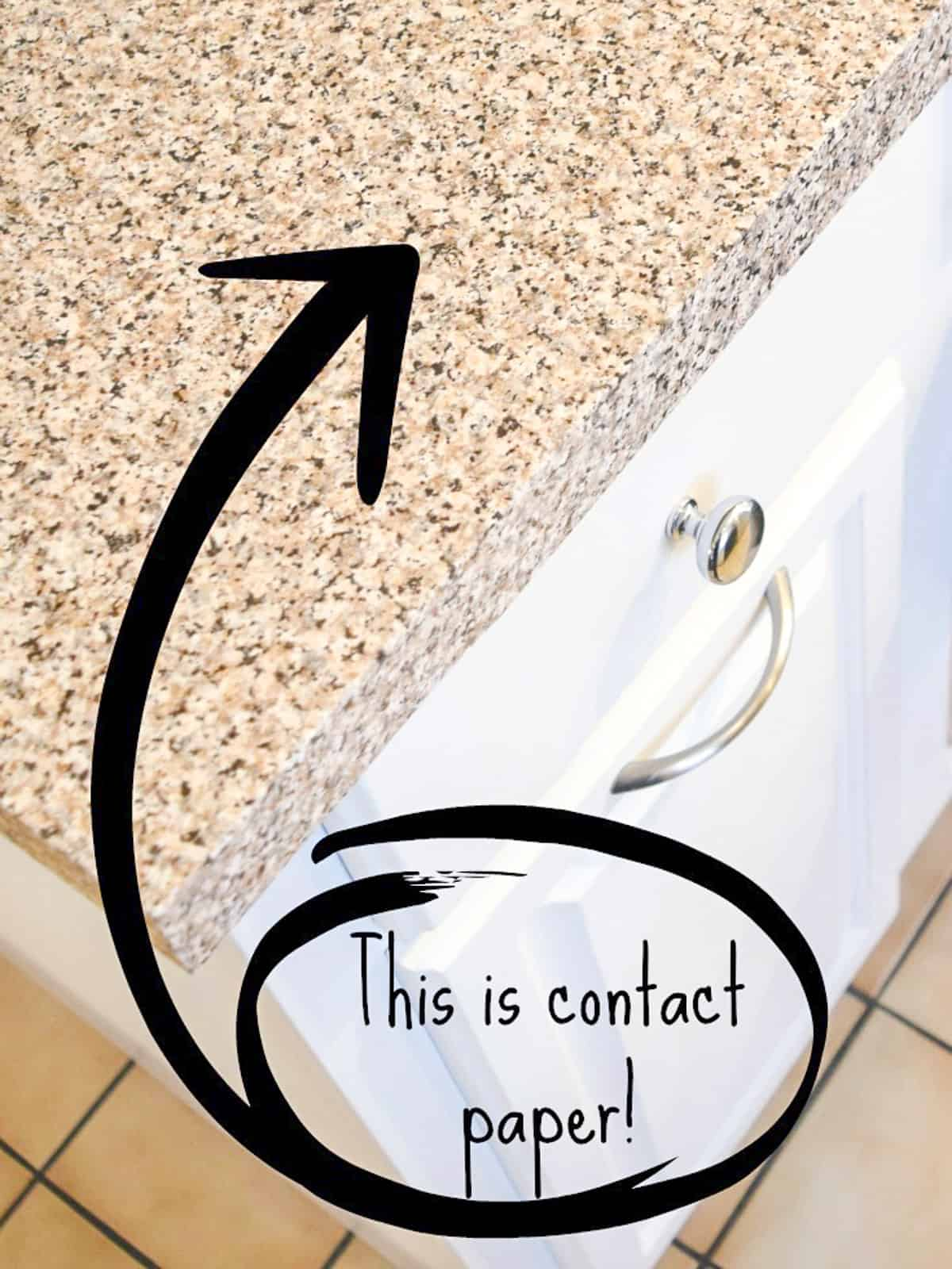 contact paper countertop on used kitchen cabinet