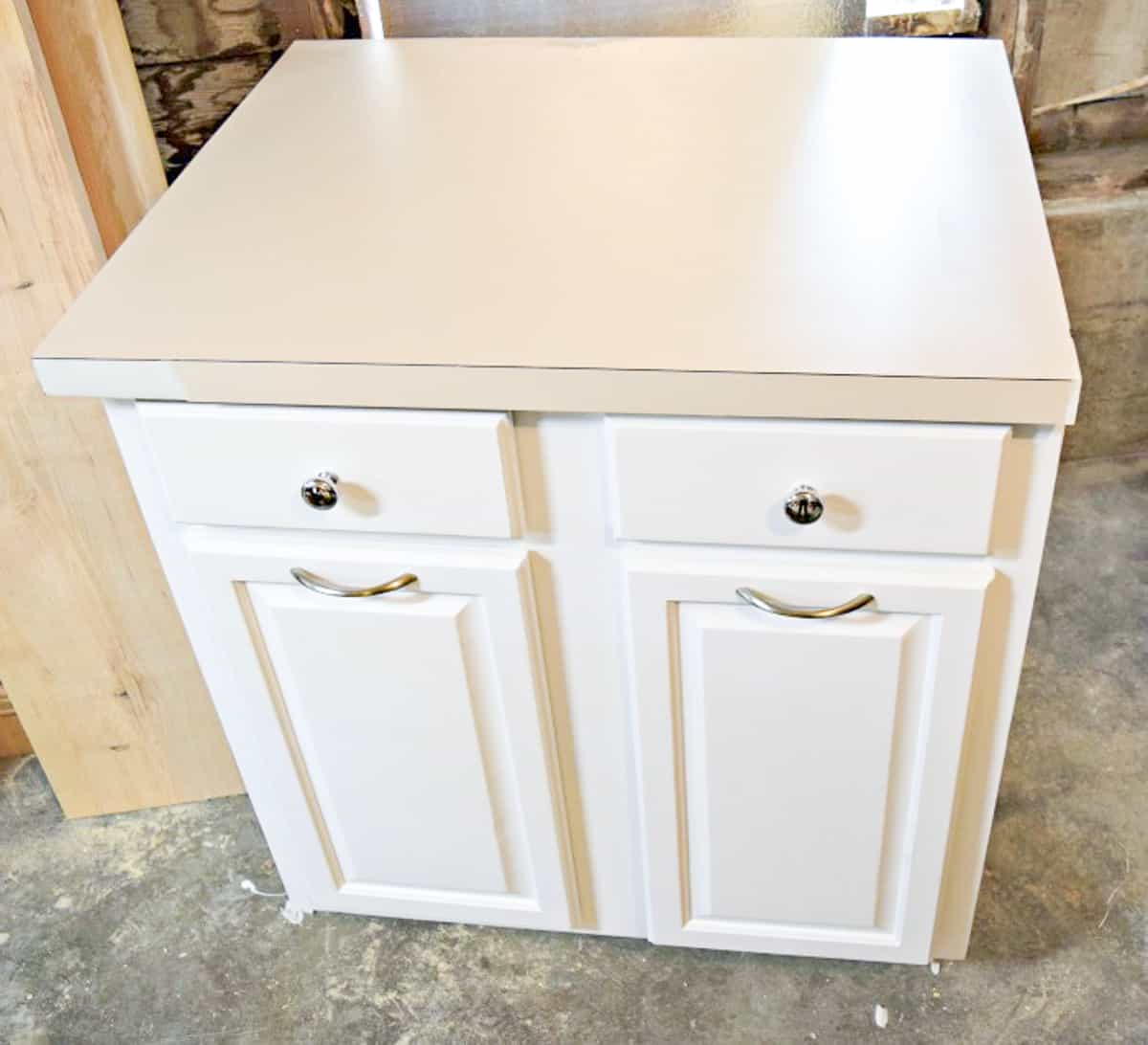 repaired formica countertop on used kitchen cabinets