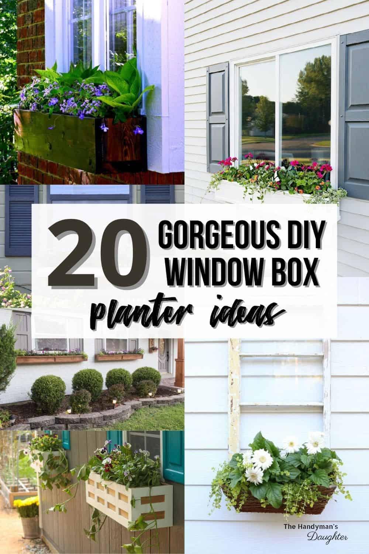 image collage of window box planter ideas