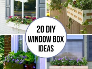 4 image collage of DIY window box planter ideas with text overlay