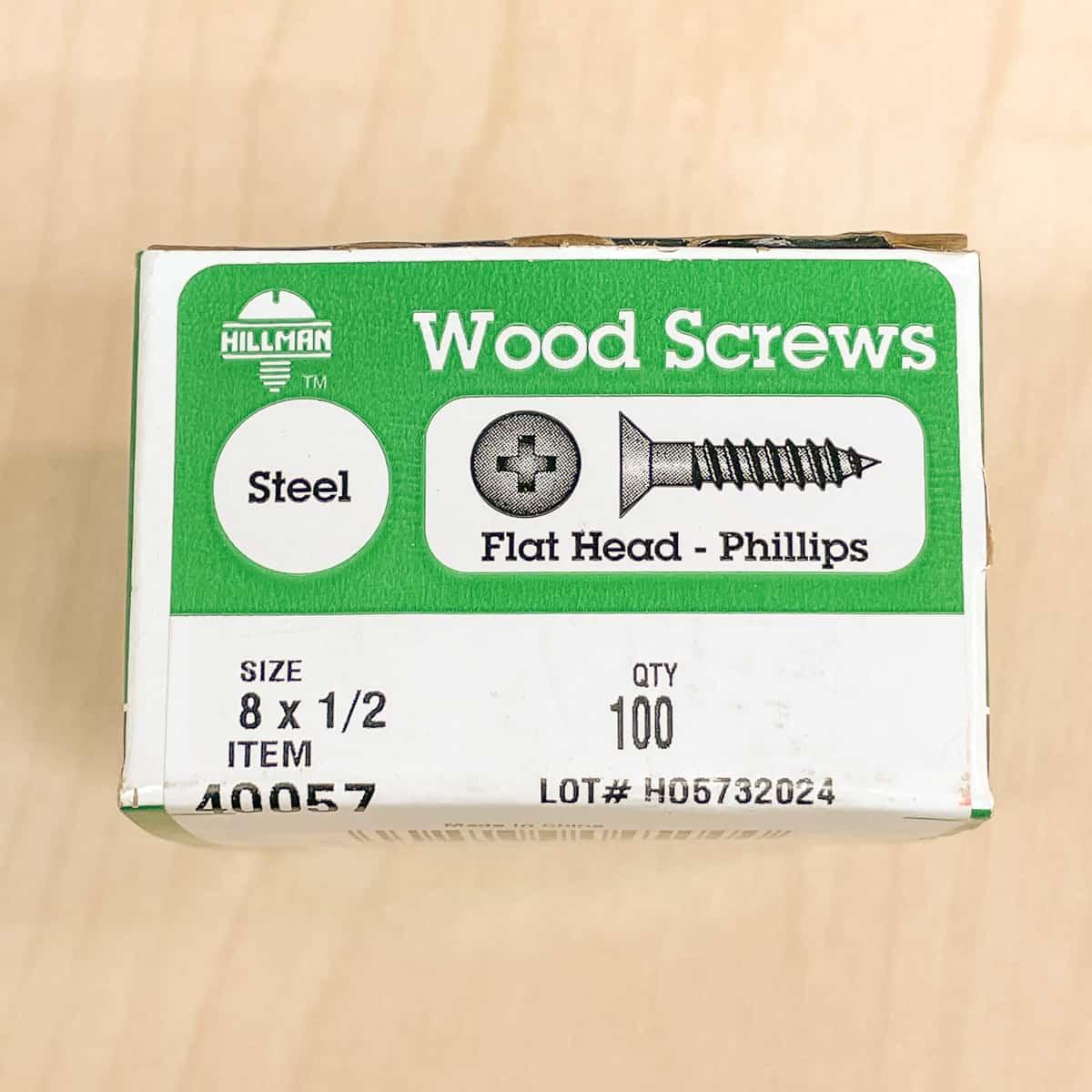 """box of 1/2"""" wood screws"""