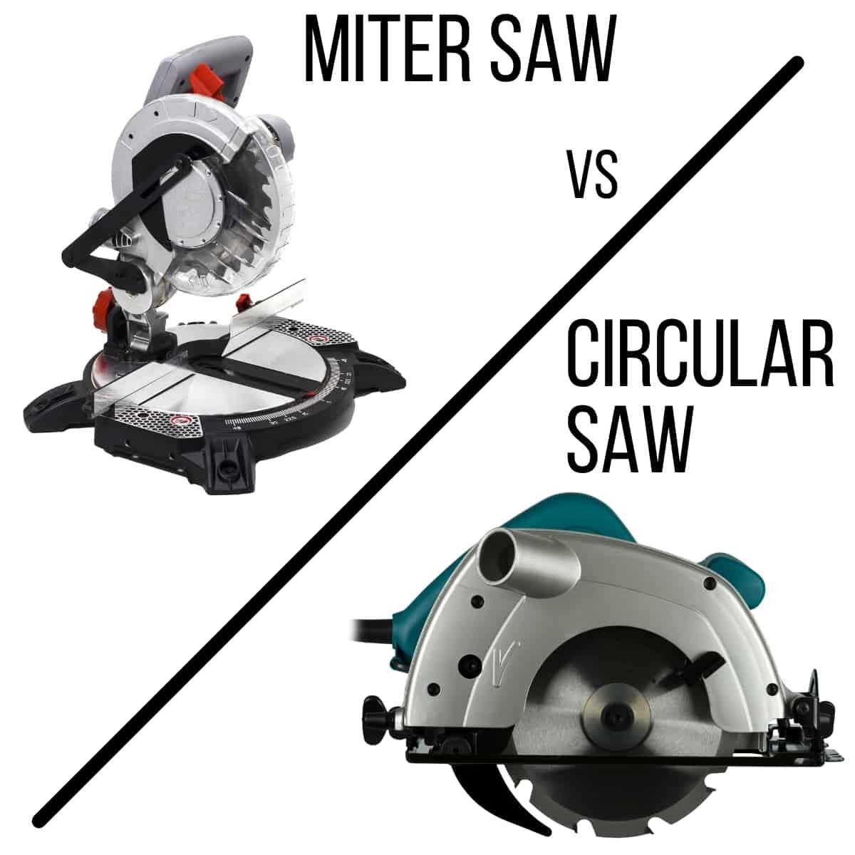 miter saw vs circular saw with diagonal line between them