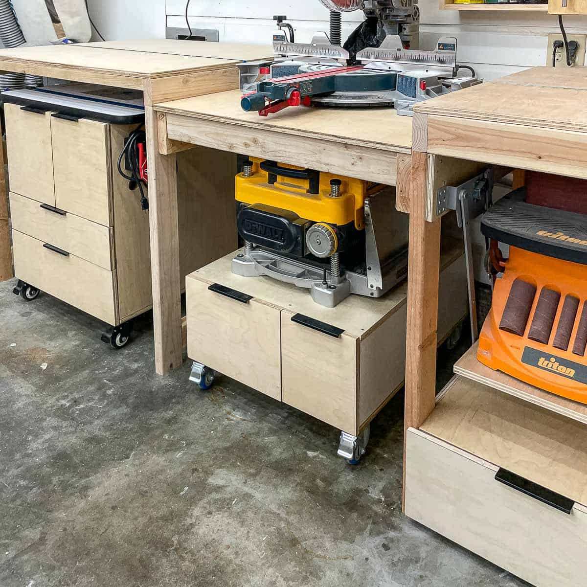 miter saw station with tool stands underneath