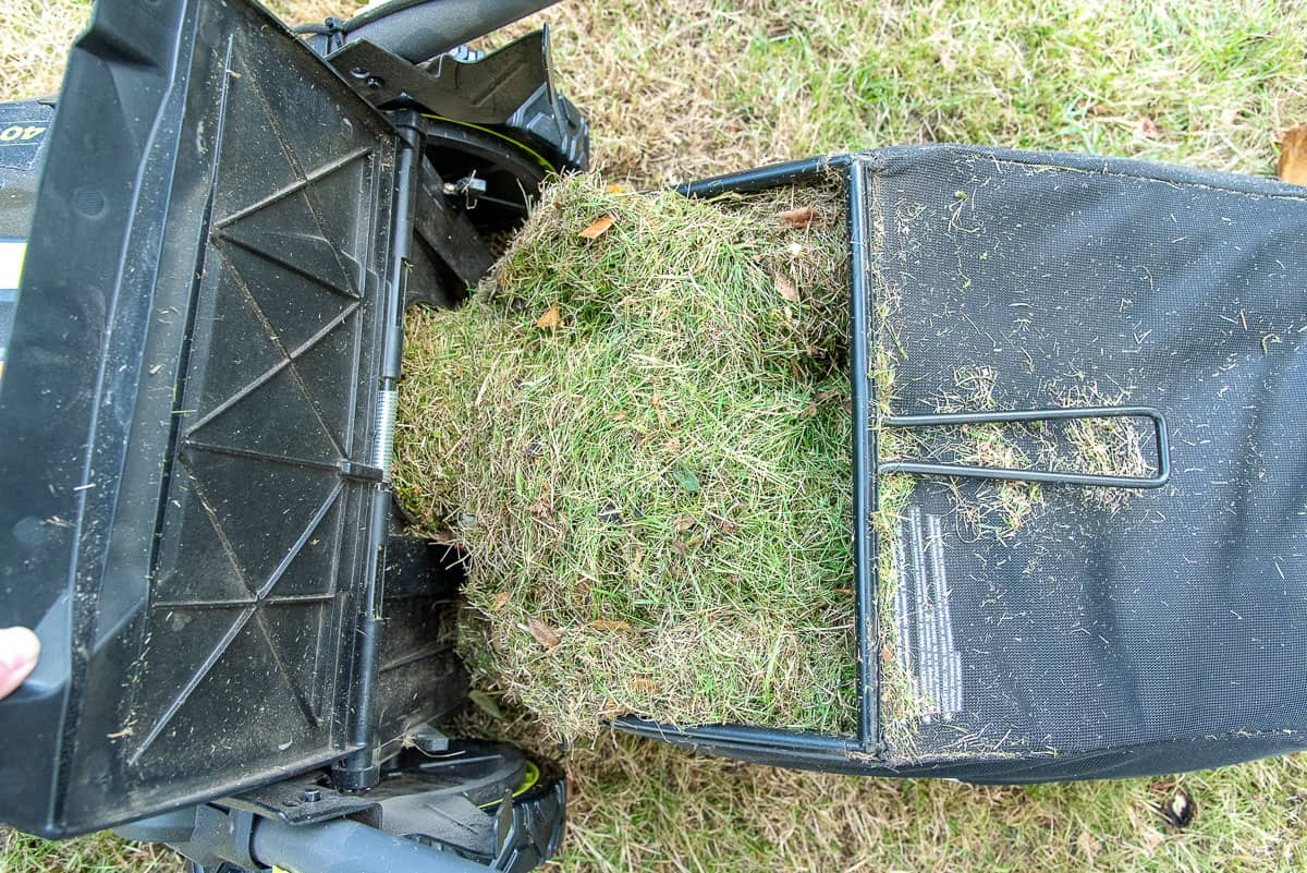 Ryobi self propelled electric lawn mower bag with lawn clippings