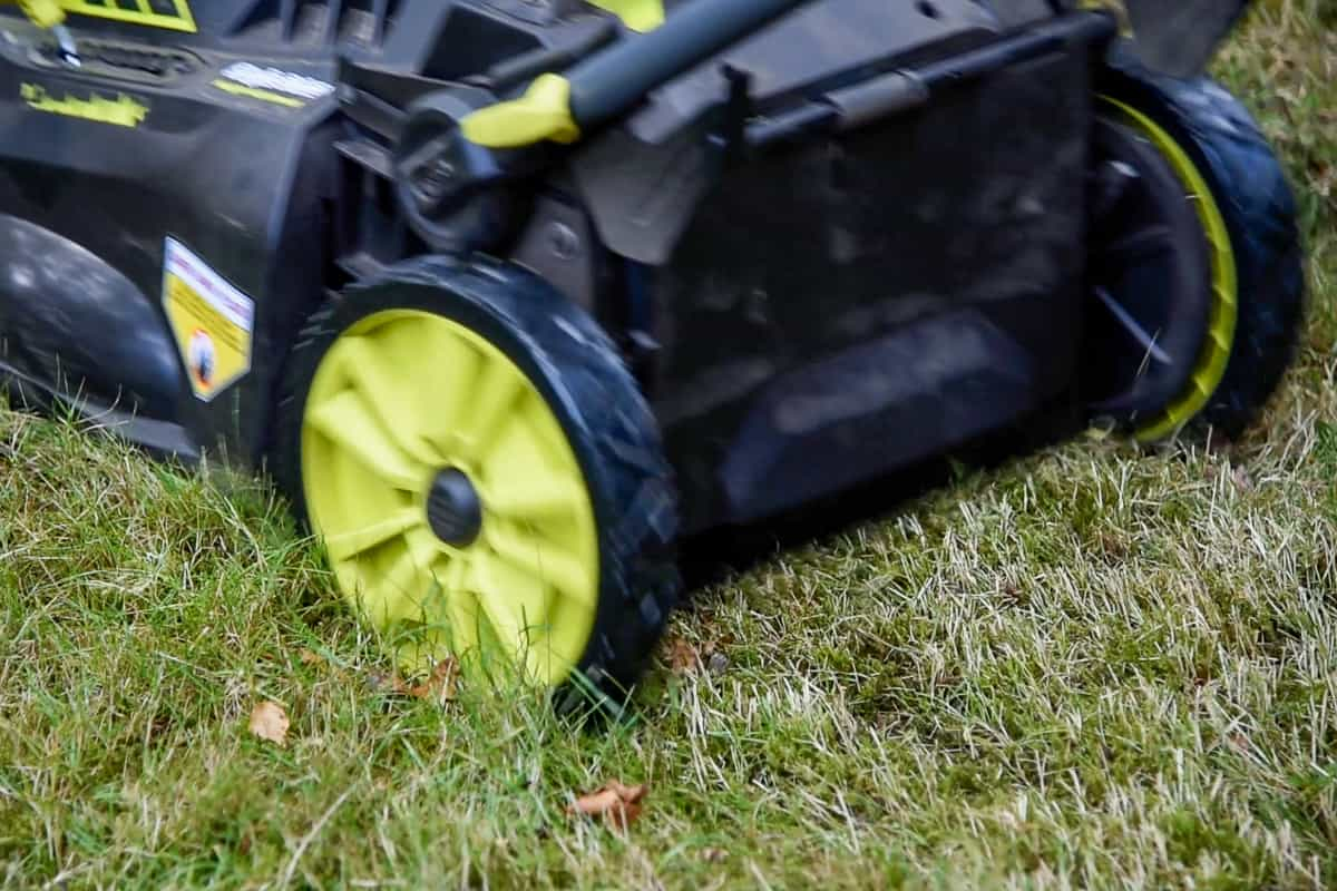 Ryobi battery mower in action