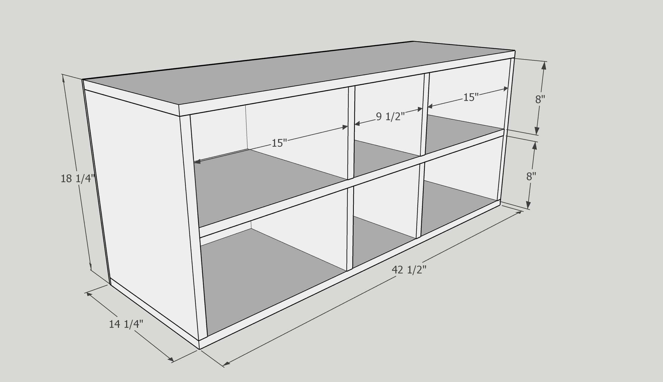 3D model of shelves for DIY built in entertainment center