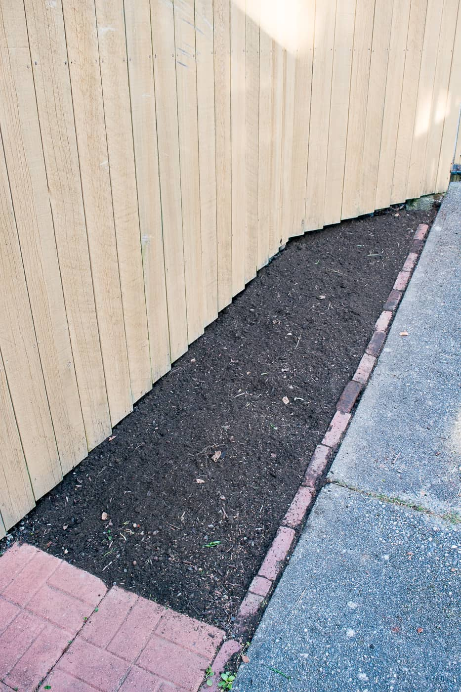 empty garden bed with bare fence next to concrete walkway lined with bricks