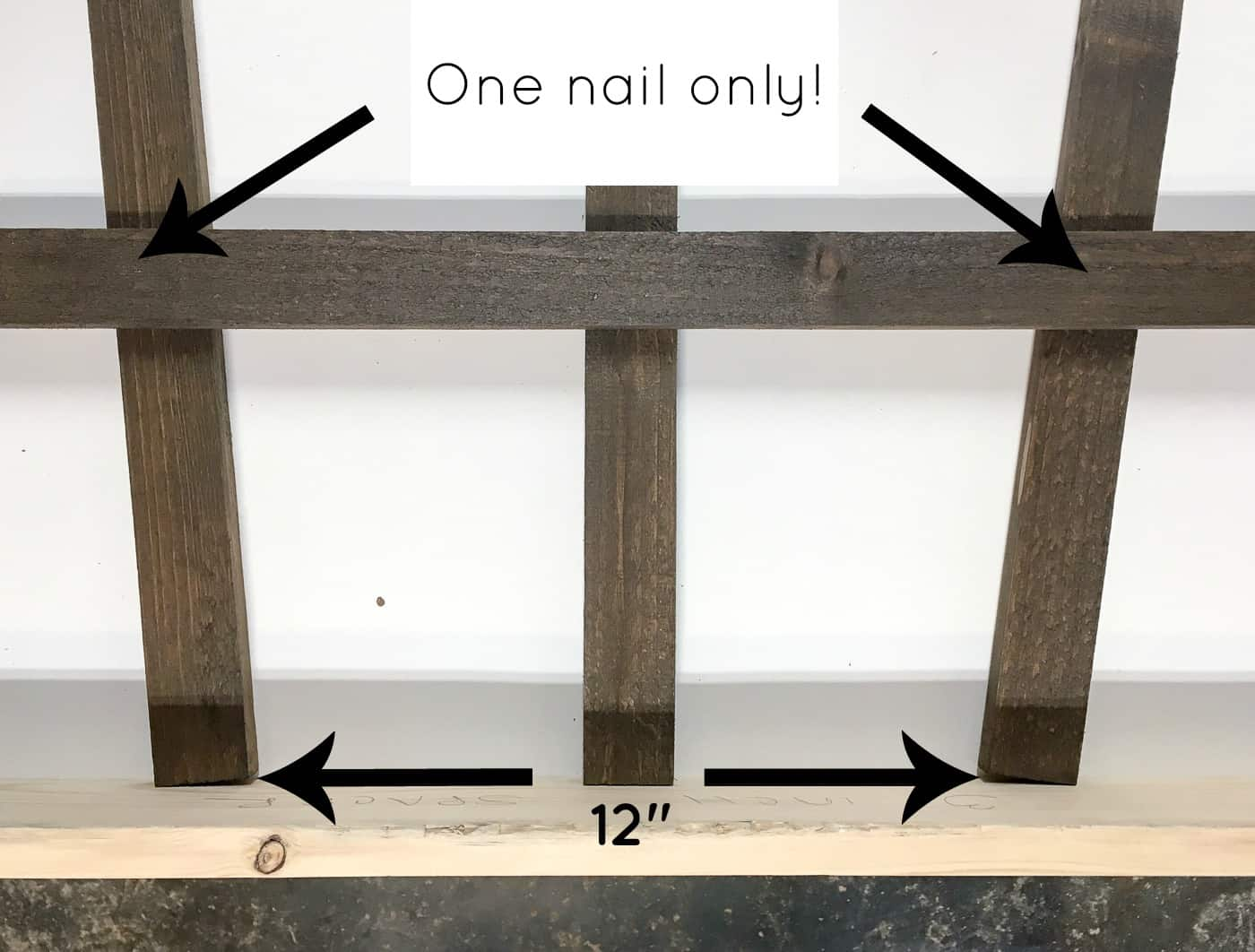 bottom of DIY trellis with instructions for assembly